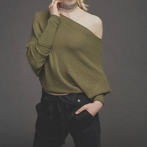 Free People off the shoulder olive green top